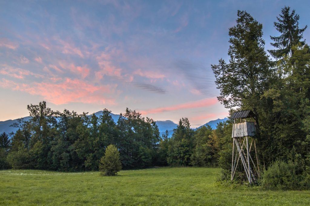 Slovenian landscape with hunting tower